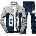 2017 New Arrival Spring Autumn Men Hoodies Suits Track Suit Casual Sli Fit Fashion Letter Mens Tracksuit Set (Asian Size)