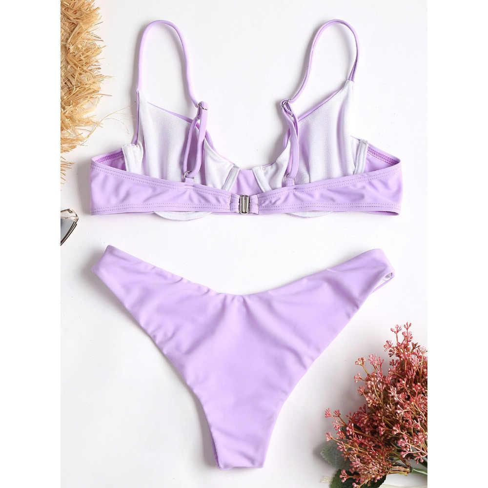 ZAFUL Push Up Bikini fiszbiny stroje kąpielowe kobiety wysoka Cut strój kąpielowy Spaghetti pasy stałe fioletowe strój kąpielowy Sexy stringi Bikini