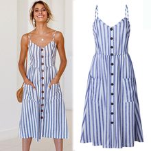 Off-shoulder Party Beach Sundress Spaghetti Midi Dresses Plus Size 2019 Summer Women Strap Dress with Pockets Button Robe blue plus size brief slash pockets blue dress