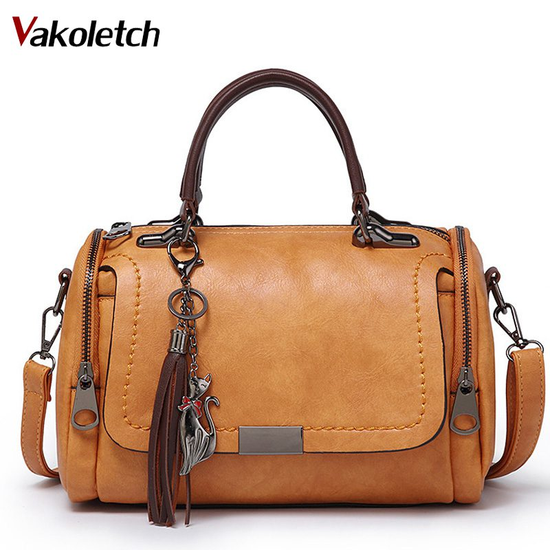 Woman Messenger Bags 2019 Crossbody Bags For Women Retro Vintage Ladies Leather Handbags Tassel Shoulder Bag Female Zipper KL476