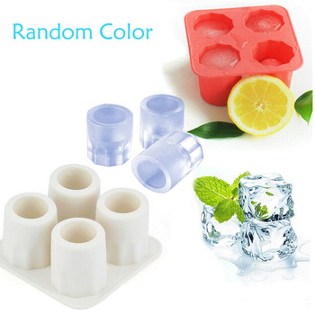 Cool Shape Ice Cube Freeze Mould 4-Cup Ice Maker Mold Cup Silicone Mold Bar Party Accessories Drink Ice Tray Random Color