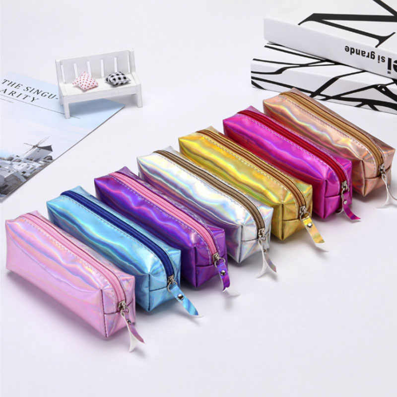 Quality PU Iridescent Laser Pencil School Supplies Stationery Gift Pencilcase School Pencil Case School Tools