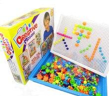 296Pcs Mushroom Nails Jigsaw Puzzle Game Creative Mosaic Pegboard Educational Toys basket Pegboard 296pcs nails sets