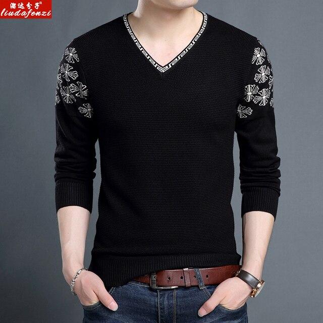 LIUDAFENZI Longa camisola de manga outono e inverno novo estilo dos homens assentamento camisa, gola V, camisola dos homens, camisa dos homens.
