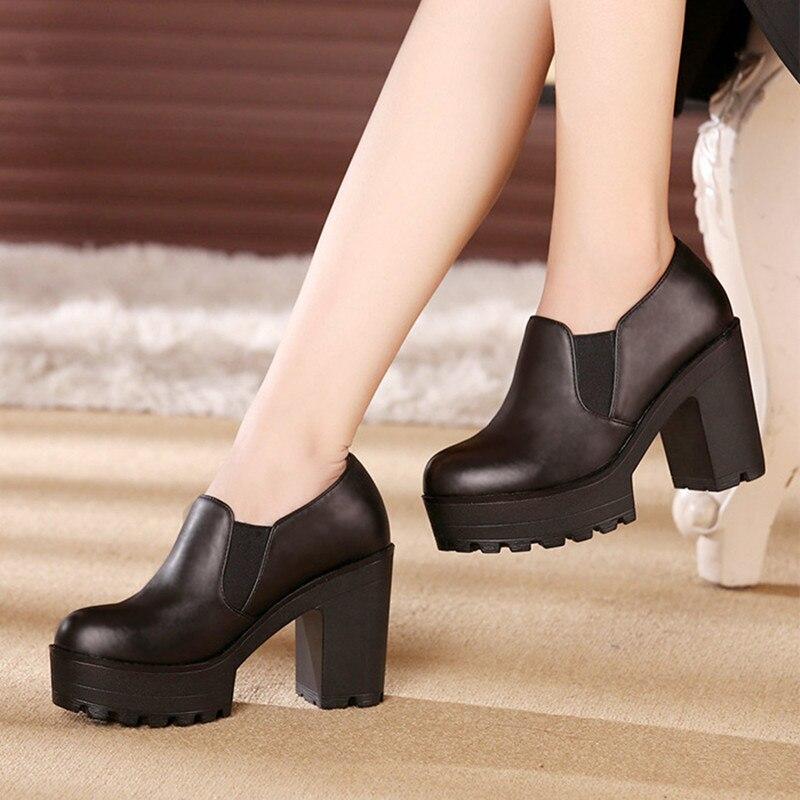 En Plate Talons 2018 forme Talon marron Haute De Bouche Chaussures Travail Bloc Profonde Printemps Pompes Dames Cuir Véritable Femmes Noir P0wSq7
