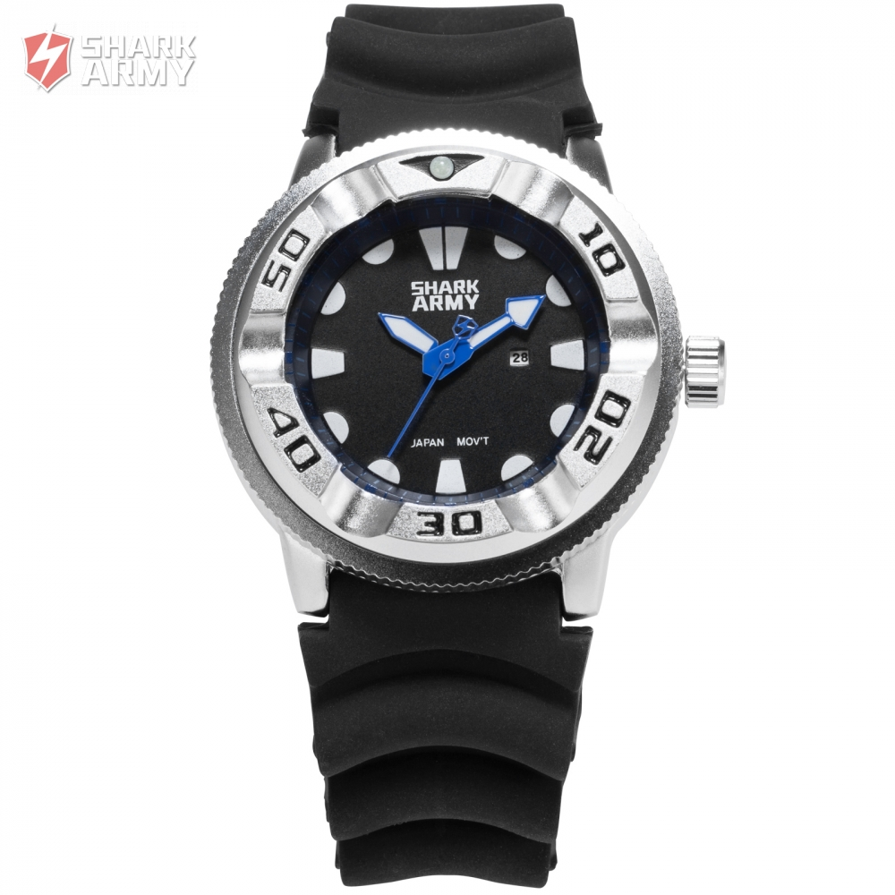 NEW SHARK ARMY Sports Watches Date Display Silicone Strap Male Military Clock Quartz Luxury Montre Homme Wrist Watch /SAW102 voodoo ii shark army auto date black silicone strap military wristwatch sports clock men military quartz wrist watches saw177