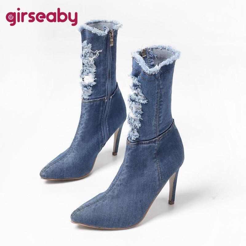 Black1 Bootie Azul Blue Zapatos Estilete Tobillo Para Jeans Vaquera Altos blue1 La Otoño light dark Girseaby 2 2 Tacones Botas De Primavera Mujer Mujeres qaadT