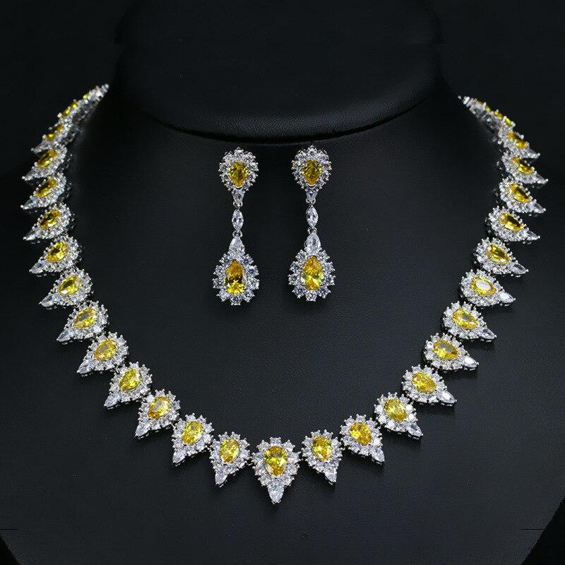 Ensembles de bijoux en zircon cubique de couleur or jaune africain de luxe ensembles de bijoux de mariée de mariage de dubaï cadeaux pour accessoires de femmes