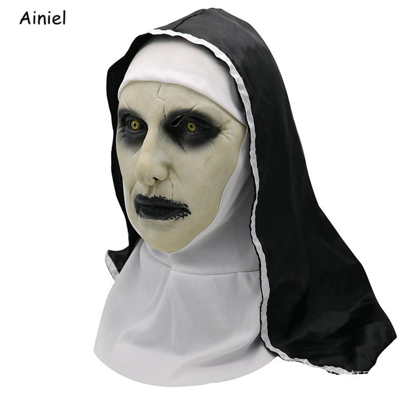 The Conjuring 2 Horror Face Mask Cosplay The Nun Valak Costume Terror Terrified Latex Scary Mask Ghost  Halloween Carnival Party