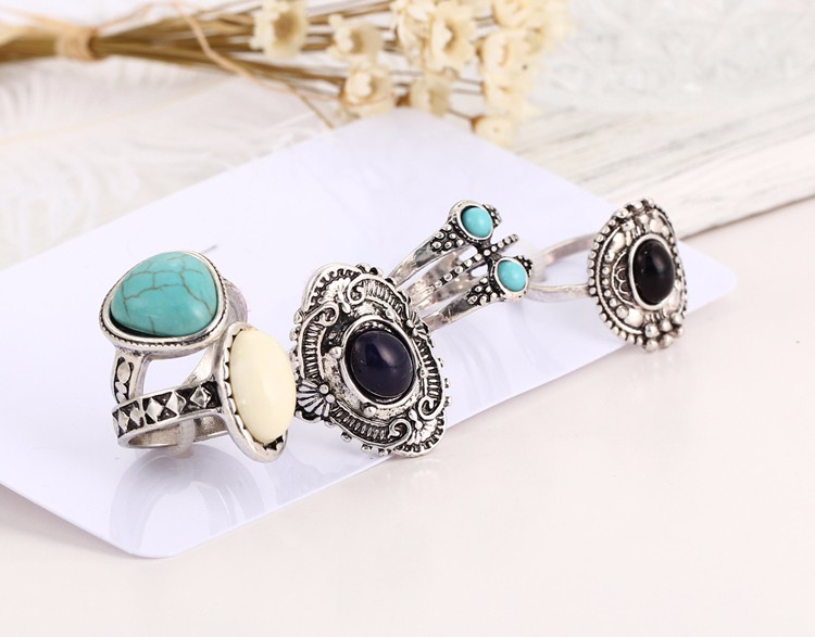 HTB1L96hMVXXXXbXXFXXq6xXFXXX5 Women Bohemian Style 5-Pieces  Antique Knuckle Ring Set With Stone Accents - 2 Colors