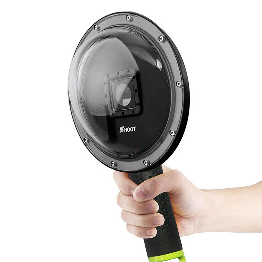 Tirer 6 pouces sous-marine dôme de plongée Port pour GoPro Hero 4 3 + caméra avec Go Pro boîtier flotteur poignée dôme pour Gopro Hero 4 accessoire