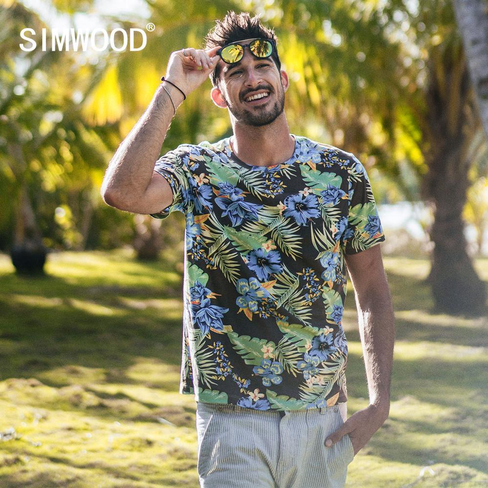 SIMWOOD 2020 Summer New Hawaii Print T Shirt Men Casual Floral High Quality T-shirt Top Breathable 100% Cotton Tshirt 190325
