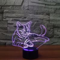 7 Colorful Cat 3D Lamp Acrylic LED Night Light USB Touch Sensor Light Children Cute Night
