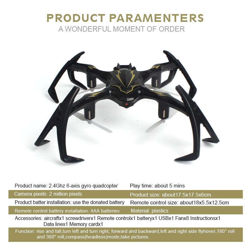 2.4G 6-Axis Gyro RC Drone con cámara Spider Quadrocopter Drones RC - Juguetes con control remoto - foto 6