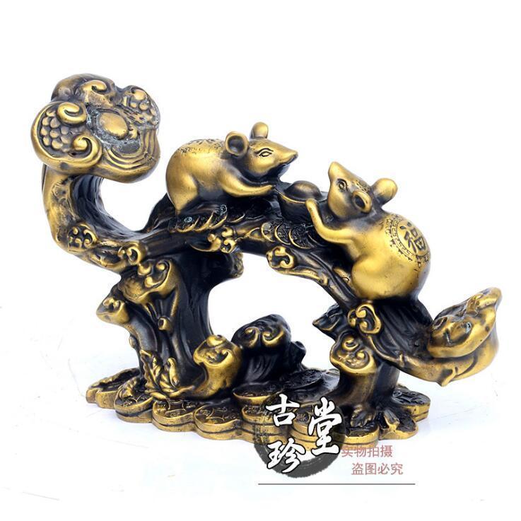 Chine en laiton cuivre Fengshui de bon augure deux souris souris Yuanbao richesse Ruyi StatueChine en laiton cuivre Fengshui de bon augure deux souris souris Yuanbao richesse Ruyi Statue