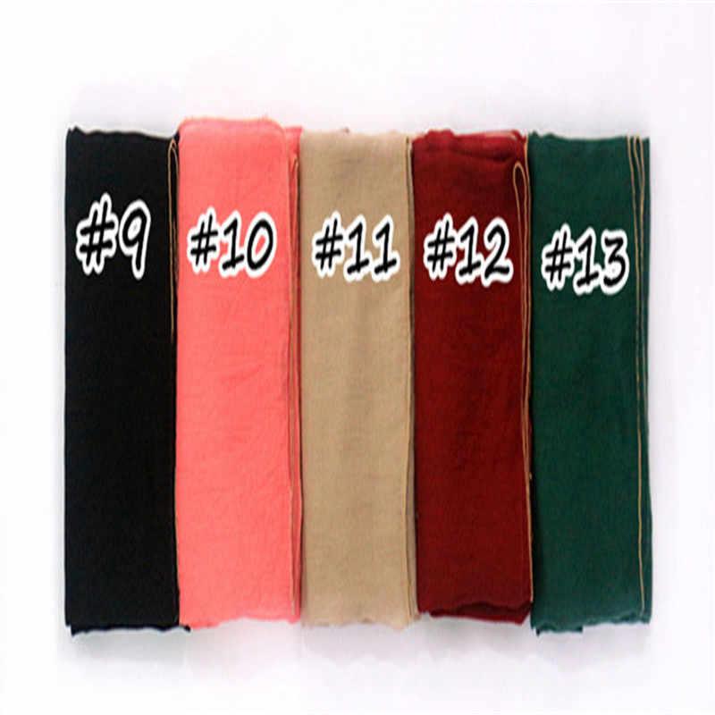 2019 Женский Золотой платок с цепочками шар границы шаль Простой макси хиджаб мусульманский сплошной шарф повязки на голову модный арабский хиджаб 1 шт Высокое качество