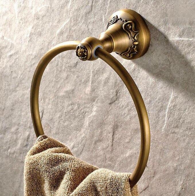 Винтаж антиквариат латунь ванная стена навесное полотенце кольцо держатель ванная аксессуары ванна фурнитура резьба цветок основа mba428