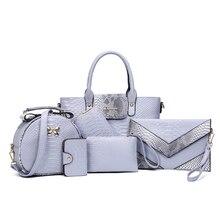 6 PCS Set Women Handbag Serpentine Pattern Composite Bags women Designer Purses and Handbags Clutch Wallet