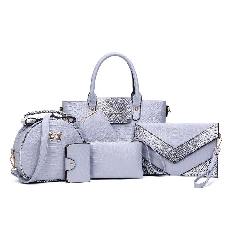 07706d397fcc 6 PCS Set Women Handbag Serpentine Pattern Composite Bags women Designer  Purses and Handbags Clutch