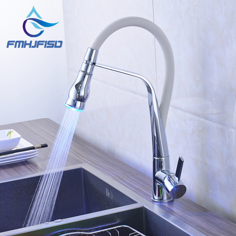 fmhjfisd New Arrival Kitchen Faucet with LED Light Chrome & White Water Taps for Kitchen new arrival without original box house kitchen cart barbecue kitchen cart simulation role playing best early education toys