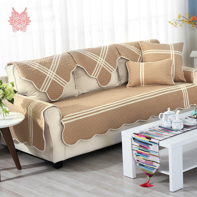 Korean Style Khaki Striped Sofa Cover Cotton Quilting Sectional Slipcovers Canape Geometric Couch Chair Furniture Covers