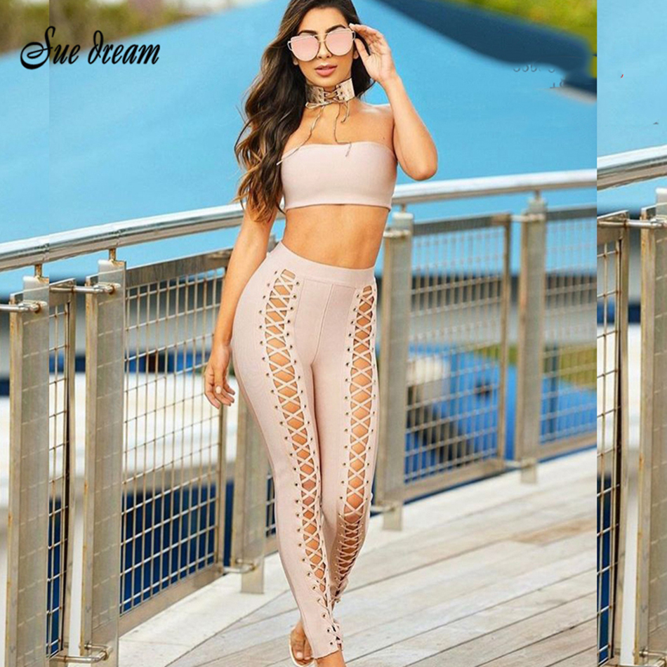 2018 New winter women runway Bandage two piece set top and pants strapless crop top hollow out clubwear outfit vestido wholesale