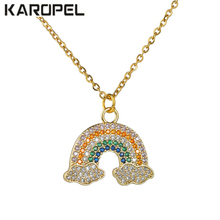 Cubic Zircon Crystal Rainbow Pendant Necklace Stainless Steel Chain Micro Pave Zircon Necklace Fashion Women Jewelry Gift lucky eye key lock pendant necklace rose gold silver color chain micro pave zircon necklace jewelry gift for women female ey6401