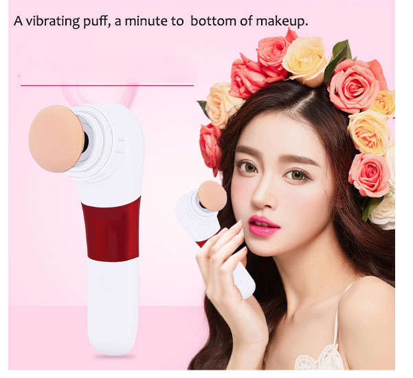 Electric Puff Cleanser 2 in 1 face wash instrument Women's Beauty tools Ultrasonic Facial 1 min Base makeup Battery powered