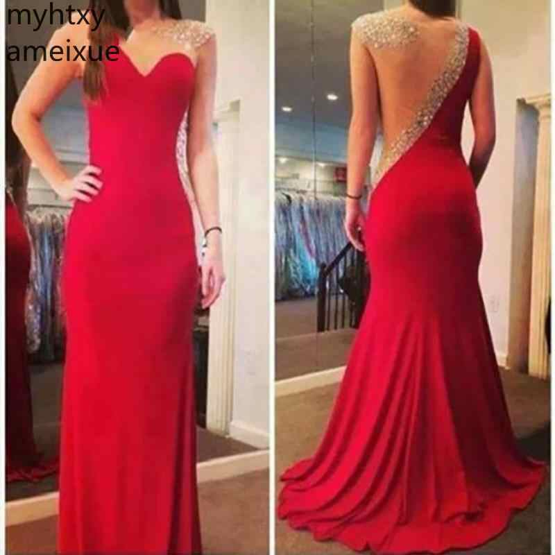 Elegant Plus Size Red Sexy Evening Dresses Chiffon Length Mermaid Lace Sleeveless Sweep Train Gowns Custom Made Robe De Soiree