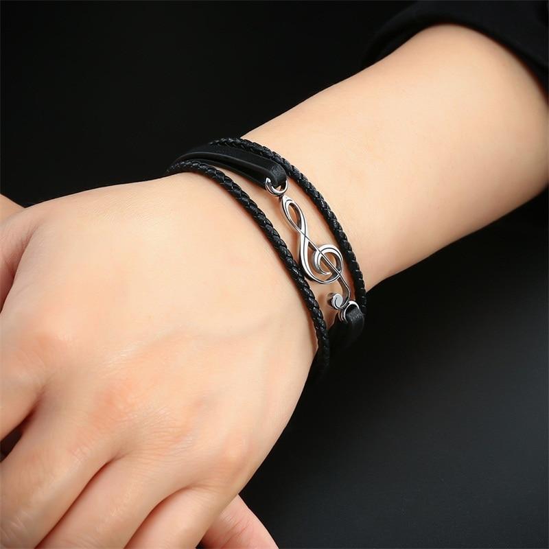 AZIZ BEKKAOUI Unique Punk Stainless Steel Musical Notes Bracelets Male Leather Bracelet for Women Rope Bangle Drop shipping