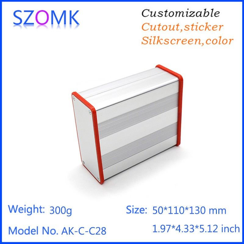 4 pcs/lot extruded aluminum enclosures aluminum project box with silicon gasket 50(H)x110(W)x130(H)mm 215 52 263 mm w h l aluminum extruded enclosures housing project box case