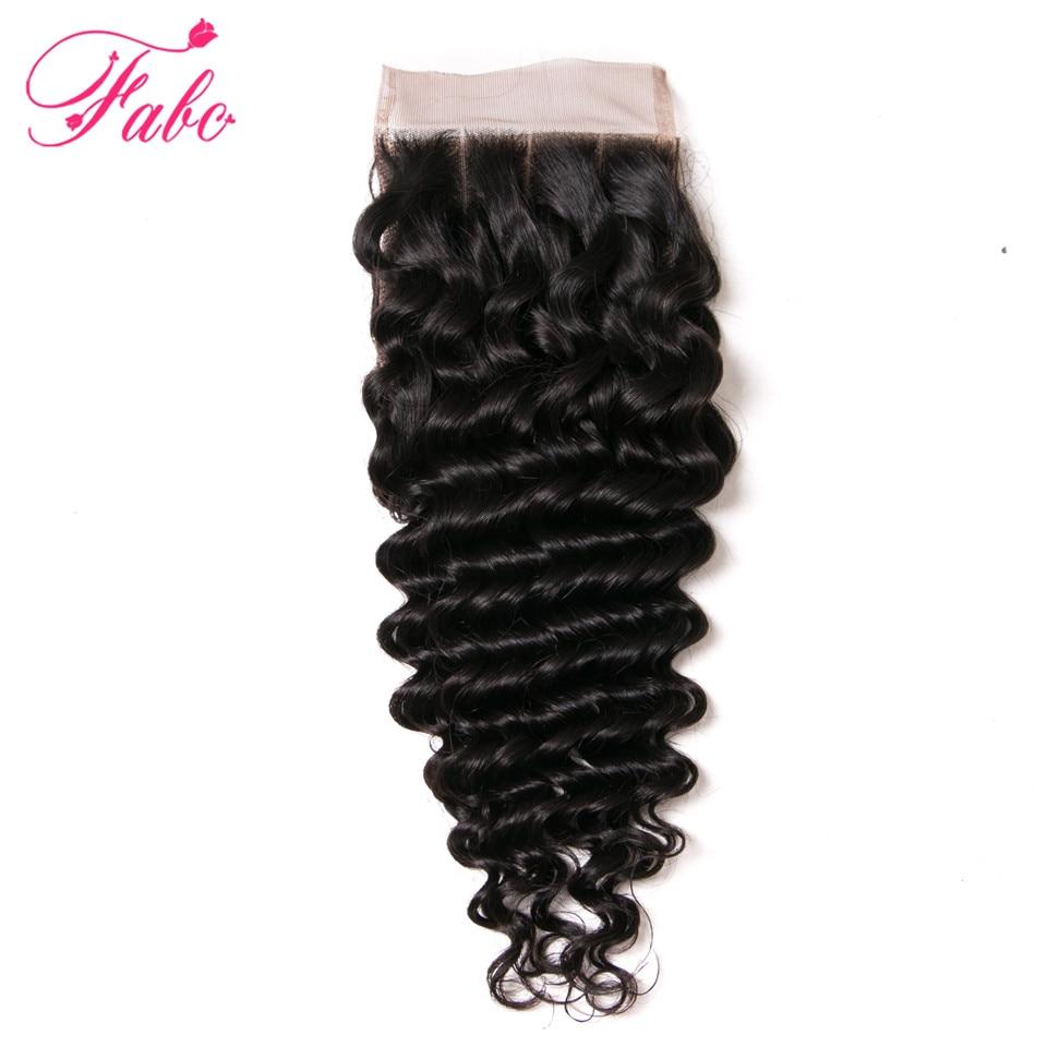 Fabc Human Hair Malaysian Deep Wave Closure Remy Hair Lace Closure 4*4 130% Density 1 Piece 10-20 Inch Natural Color