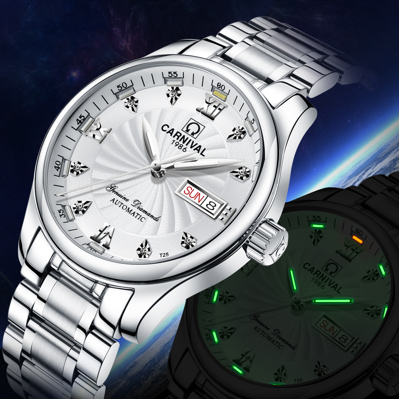 Carnival Green Tritium Watch Men Automatic Mechanical Luminous Silver Stainless Steel Waterproof Date Week Watches carnival green tritium watch men automatic mechanical luminous silver stainless steel waterproof date week watches