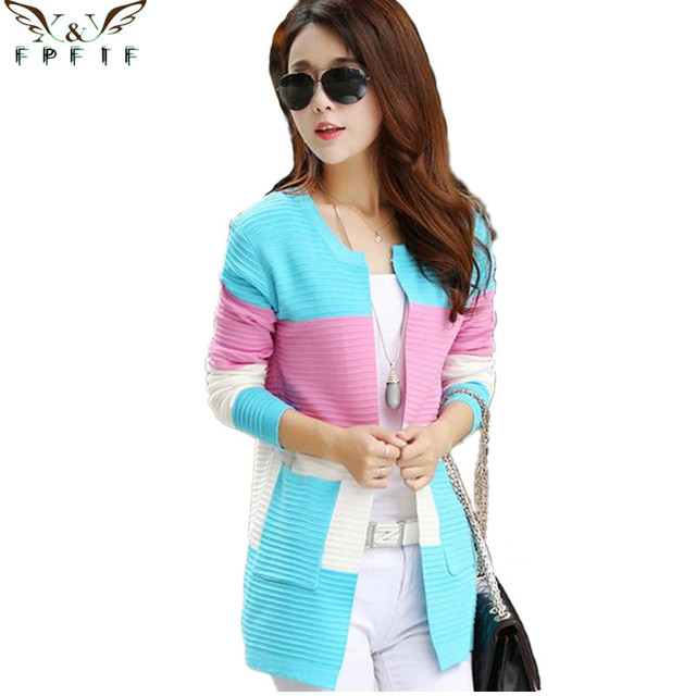 2017 fall and winter cardigan sweater Knitted Cotton Patchwork pocket O-Neck Pink/Blue/red Fashion Leisure cardigan women
