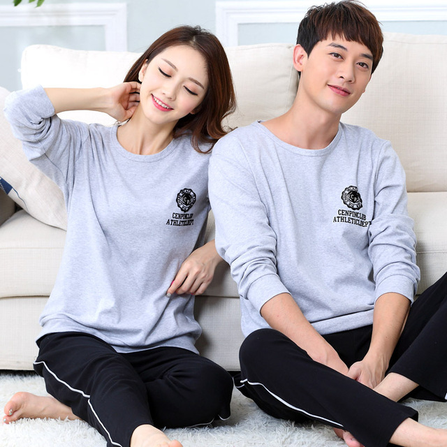 High Quality Long-sleeve sleepwear Cotton pajamas lounge pijama feminino set lovers pajama sets Lovers Homewear Sleepwears