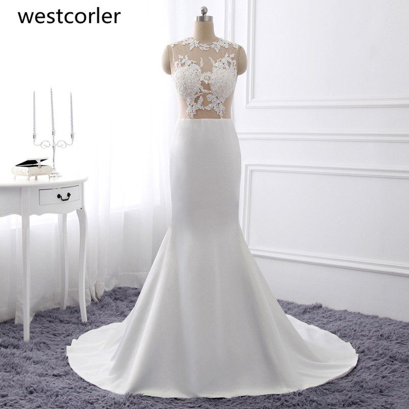 Gorgeous Mermaid Prom Dresses 2019 Hot Sale Sexiga White Lace Appliques Ruffles Golv Längd Aftonklänning För Wedding Plus Size