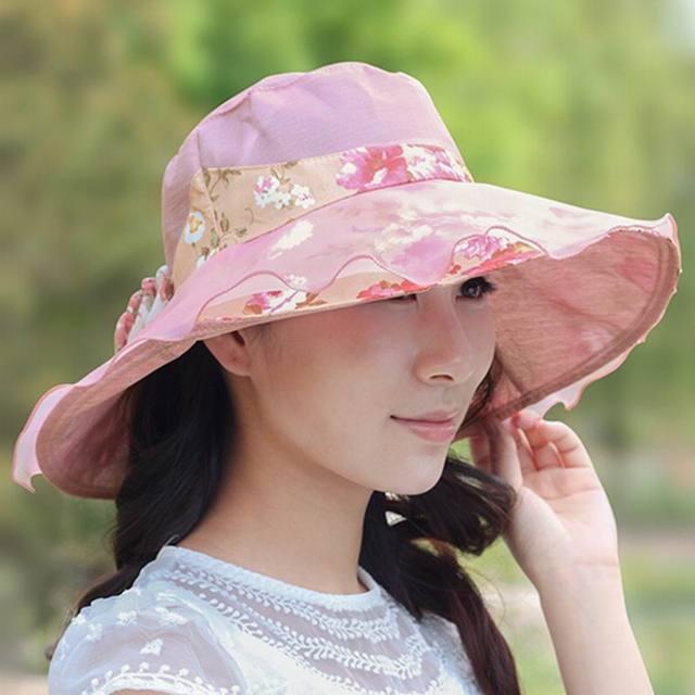 97a27fbea4f1c Hat female summer sunbonnet folding sunscreen anti-uv large brim sun hat  beach cap summer