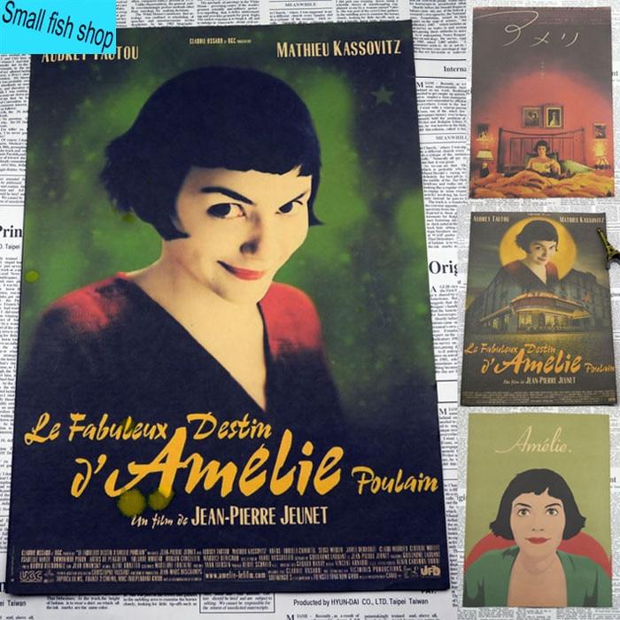 Amelie Audrey Tautou Perancis romantis sastra Home Furnishing dekorasi Kraft Poster Film Gambar inti Dinding stiker