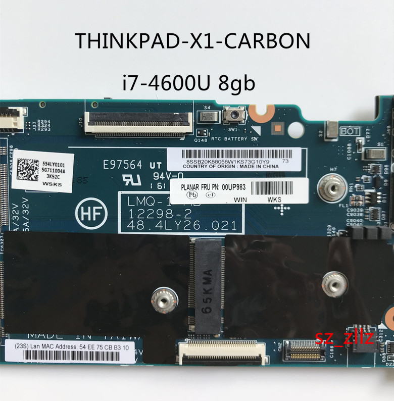 US $198 0 10% OFF|Original laptop Lenovo ThinkPad X1 carbon TYPE 20A7 20A8  motherboard mainboard W8P i7 4600 AMT TPM 8GB 00UP983-in Motherboards from