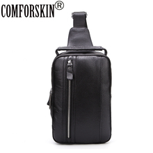 COMFORSKIN New Arrivals Soft Cowhide Genuine Leather Chest Bags 2017 Fashion Casual Zipper Men Messenger Shoulder