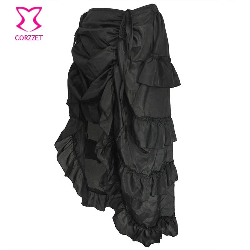 44b16dc81 € 10.53 45% de DESCUENTO|Negro Vintage asimétrica gasa volante más tamaño  Steampunk gótico Falda larga victoriana faldas para mujer partido ...