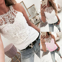 Fashion Womens Summer Lace Top Loose Camisole Casual V-Neck Tank Tops Sleeveless Hollow Out