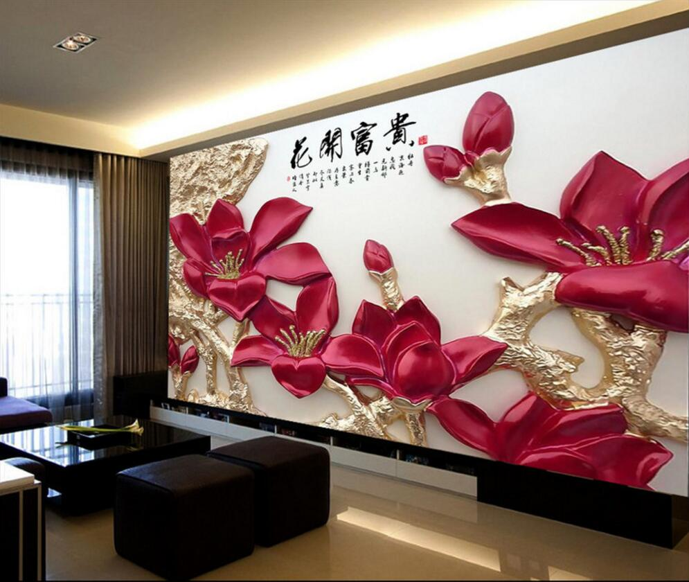 compare prices on red flowers wallpaper online shopping. Black Bedroom Furniture Sets. Home Design Ideas