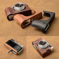AYdgcam Brand Genuine Leather Camera case Bag Handmade Half Body Cover For Fujifilm X100F X100 F Battery Opening
