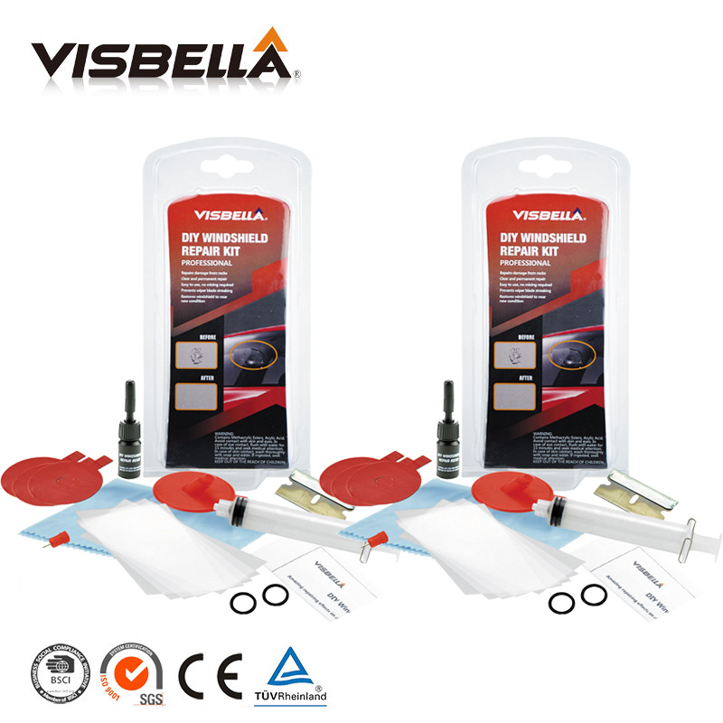Visbella 2pc Car window repair Windscreen Scratch Chip Crack Restore fix Glass renwal Tools Auto Windshield Repair Kit Polishing