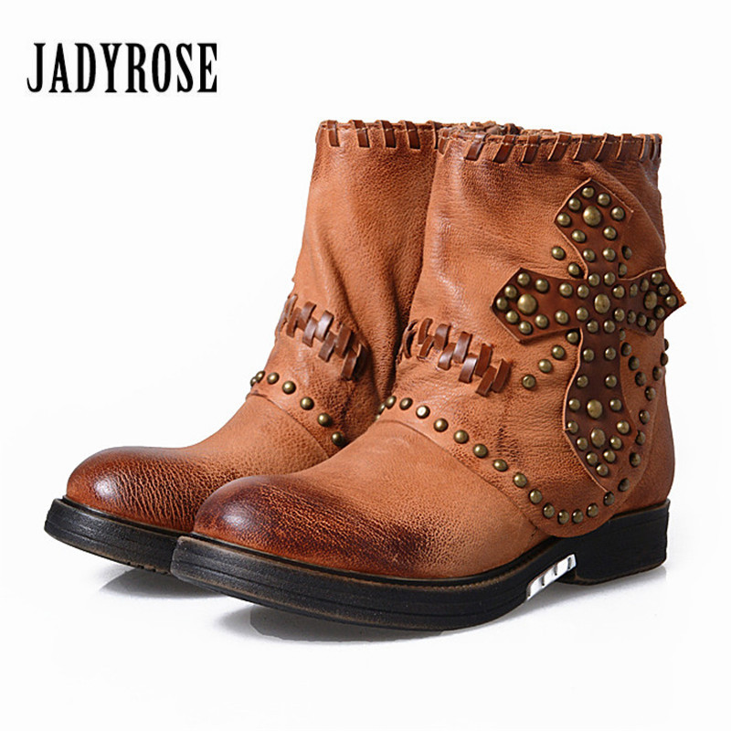 Jady Rose Retro Women Ankle Boots Rivets Studded Genuine Leather Flat Short Booties Autumn Winter Female Platform Martin Boot women martin boots 2017 autumn winter punk style shoes female genuine leather rivet retro black buckle motorcycle ankle booties