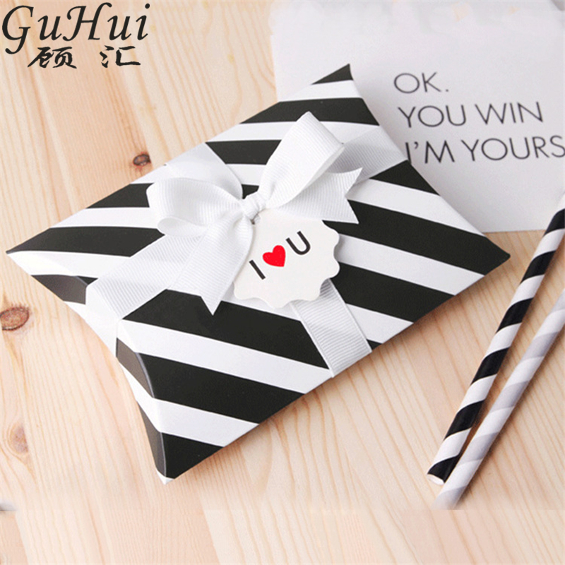Black White Striped Pillow Shape Candy Box Christmas Gift Bag Wedding Favors Baby Shower Birthday New Year Party Festive Decor