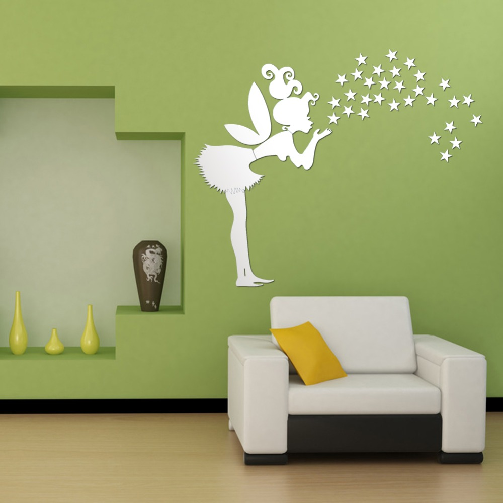 Aliexpress.com : Buy Home Decor,Kids Bedroom Decoration 3D Mirror Stickers,35  Stars DIY Fairy With Stars PS Wall Stickers From Reliable Stickers Gsxr ...
