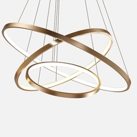 LukLoy תליית מנורת אורות מטבח אי אוכל סלון חנות דקור מודרני Hanglamp גדול טבעת אקריליק זהב תליון אור