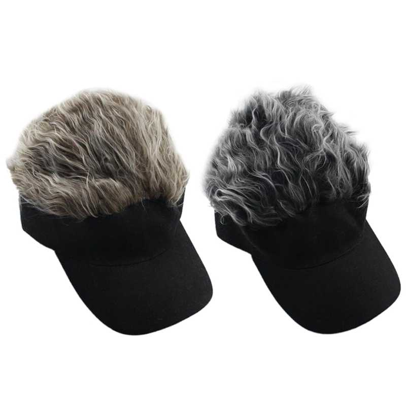 Men Women Fake Flair Hair Baseball Cap Sun Visor Fun Halloween Party Toupee Hat